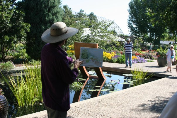 Teaching a watercolor class of the conservatory at Denver Botanic Gardens.