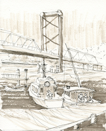 Grey markers used in a sketch of the Bridge at Portsmouth by Karla Beatty.