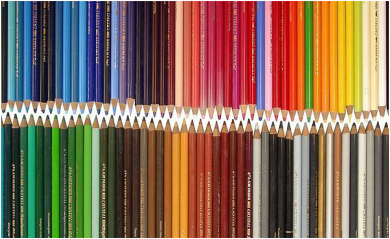 colored pencils of many different colors and shades
