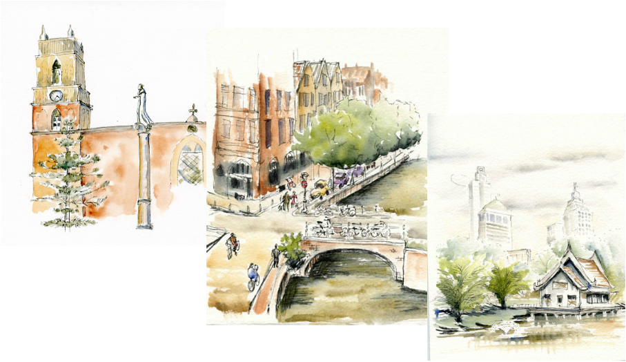 Watercolor paintings and urban sketches of Canal in Amsterdam, Cathedral in San Miguel de Allende, and a lake house in Bangkok, Thailand