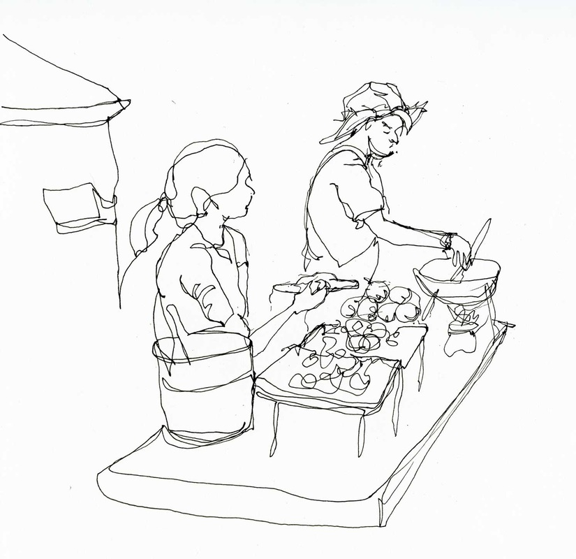 Pen drawing of two food vendors on a bangkok street.