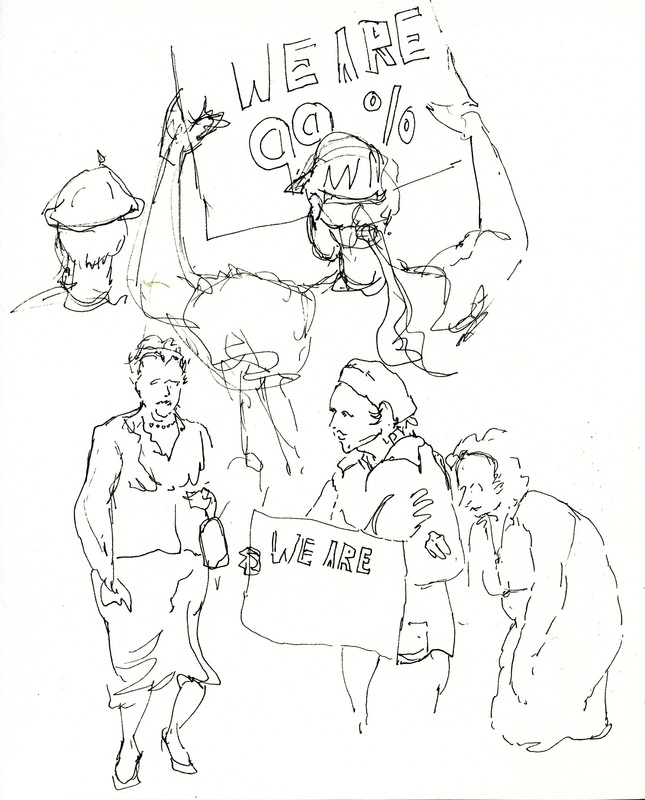character sketches from an occupy demonstration done in Micron ink pen
