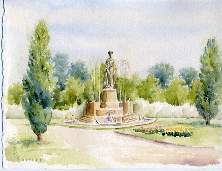 Watercolor painting by Karla Beatty. Entrance to City Park.