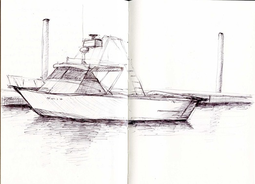 Sketch in a journal done in ballpoint pen of a small boat in Wellfleet Harbor