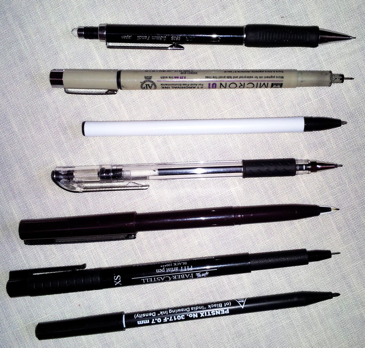 various pens for sketching in sketchbooks and journals
