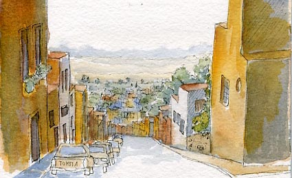 Watercolor urban sketch by Karla Beatty, Look Down San Miguel