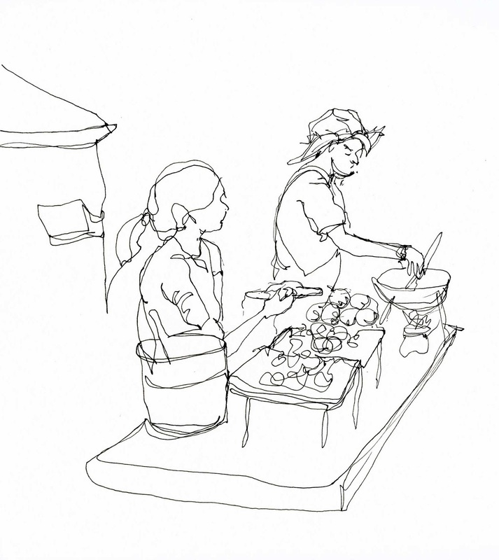 Contour line drawing of two street food vendors in Bangkok, Thailand
