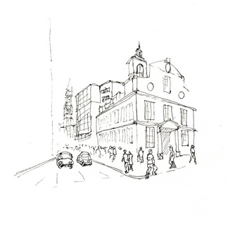 Sketch of an old building in Boston done quickly in pen.