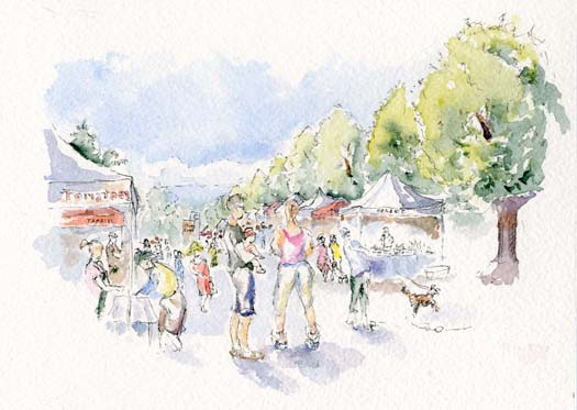 Watercolor urban sketch of a farmer's market scene. Sketches of people and booths and trees.