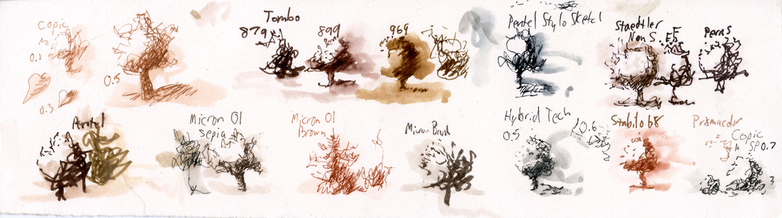 Test sample drawings of many different pens, colors, and sizes with water brushed on